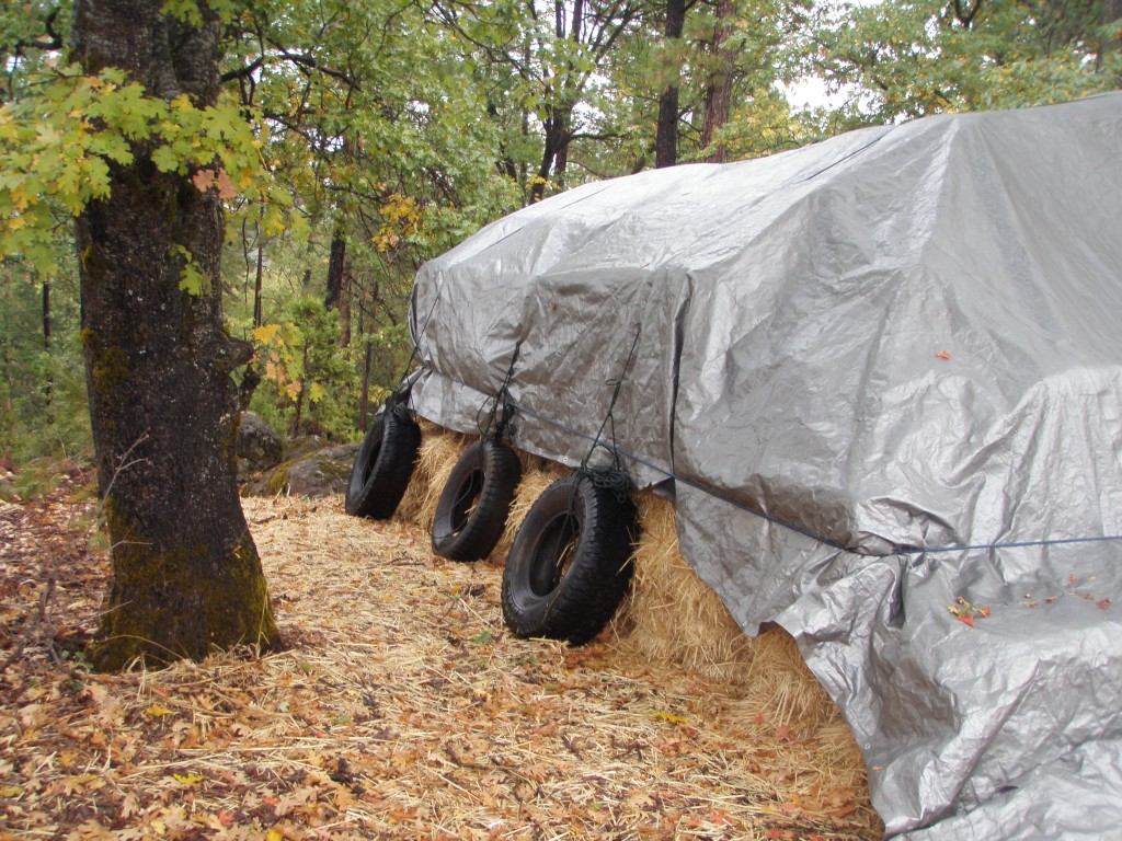A properly tarped hay stack can withstand even high winds; if not weighted, the wind sneaks under the edges and the tarp leaves for the next county.