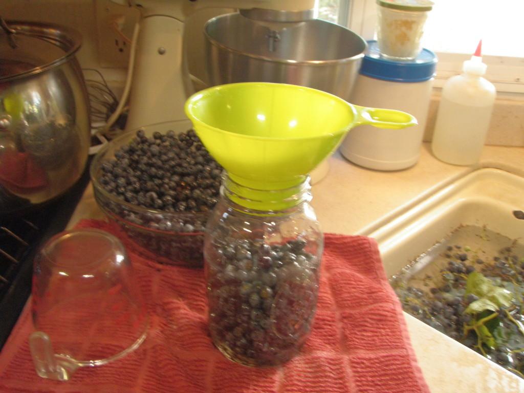 Filling jars.
